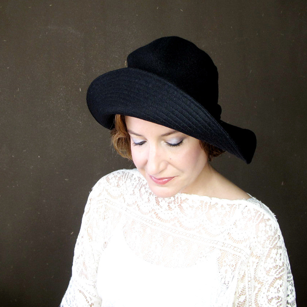 Ripple Effect in Black Wool & Cashmere : Womens Floppy Wide Brim Hat - terry graziano  - 4