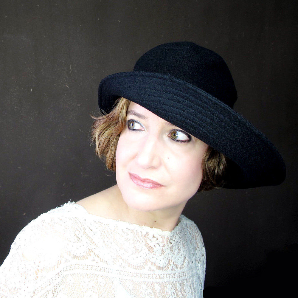Ripple Effect in Black Wool & Cashmere : Womens Floppy Wide Brim Hat - terry graziano  - 6