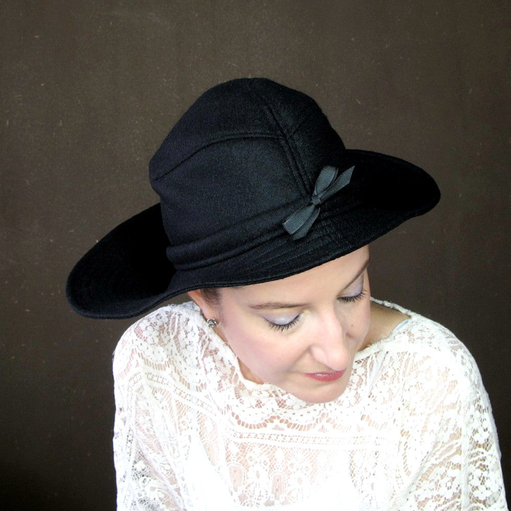 Ripple Effect in Black Wool & Cashmere : Womens Floppy Wide Brim Hat - terry graziano  - 7
