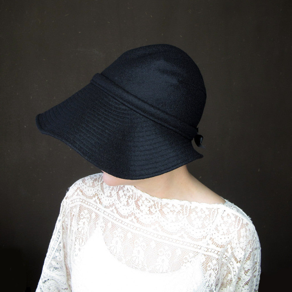 Ripple Effect in Black Wool & Cashmere : Womens Floppy Wide Brim Hat - terry graziano  - 8