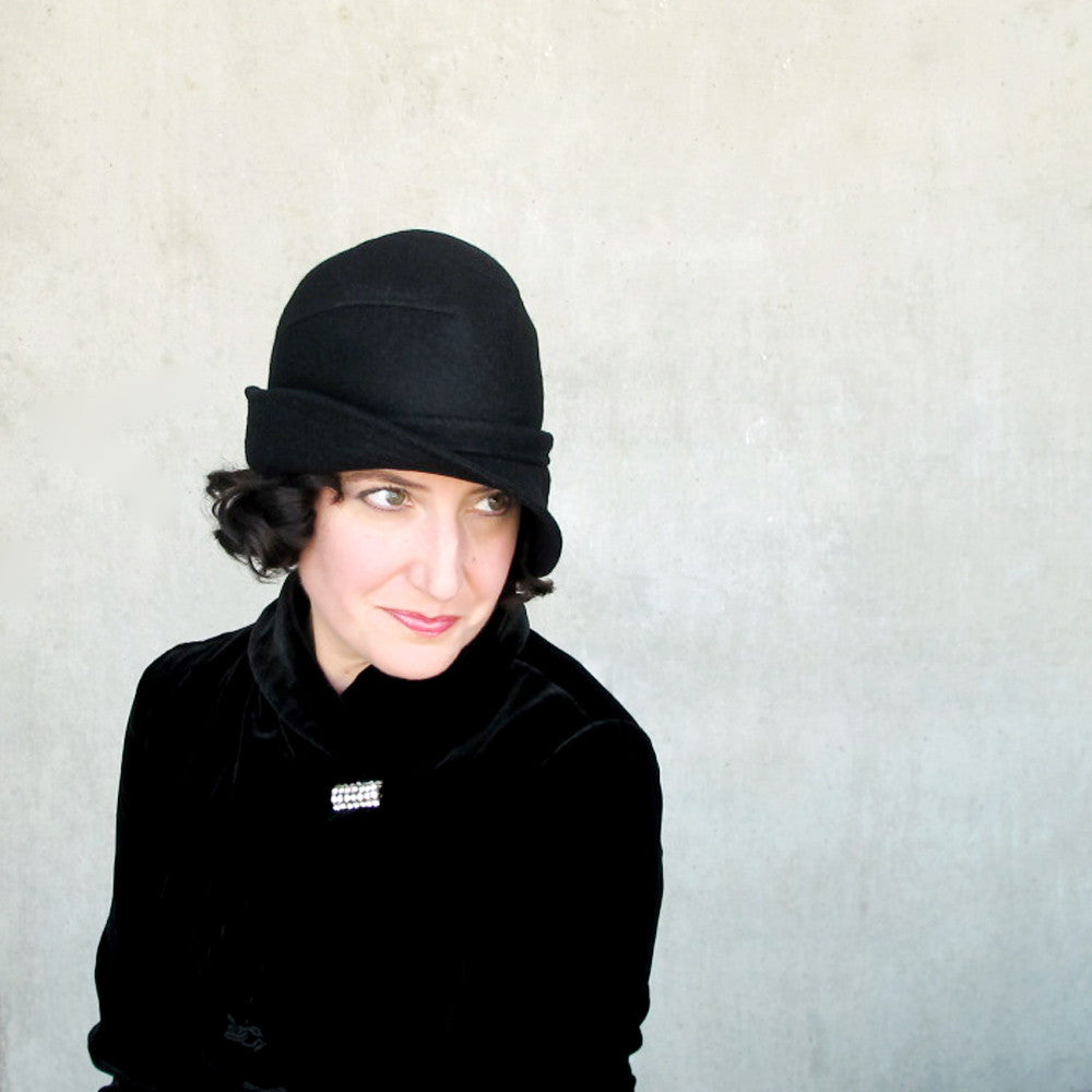 Salmagundi : women's black wool bowler hat - terry graziano  - 9
