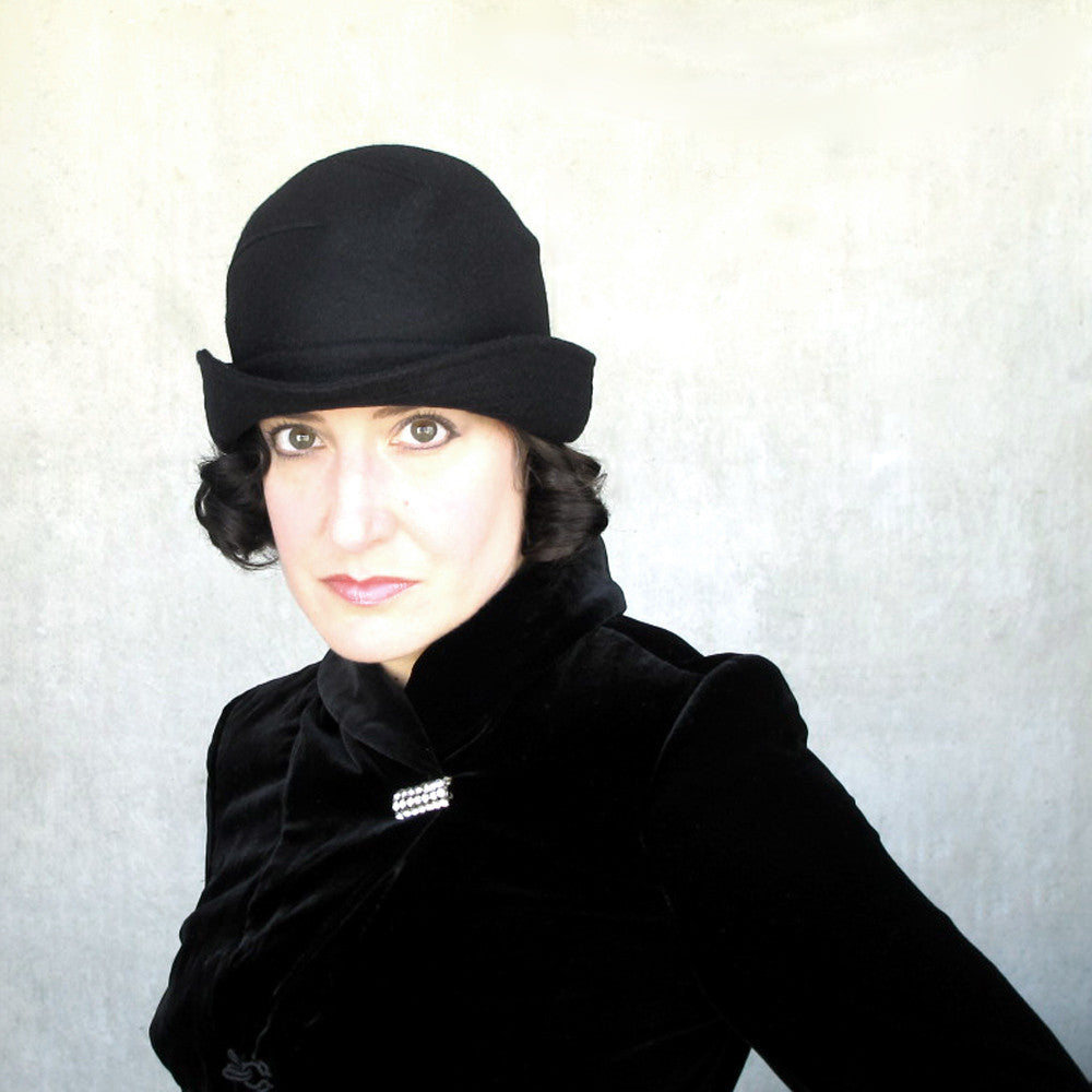 High fashion black bowler hat - terry graziano