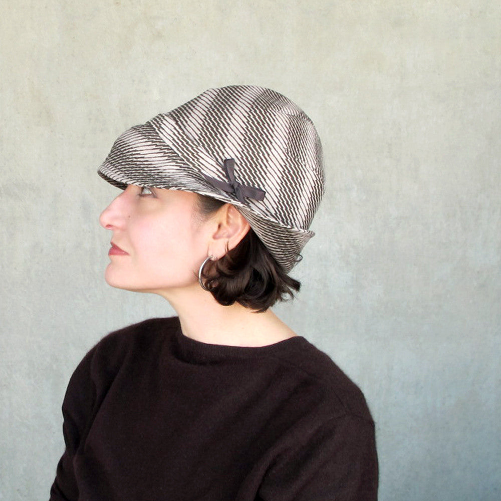 Womens brimmed cloche in brown & beige houndstooth check ultrasuede - terry graziano