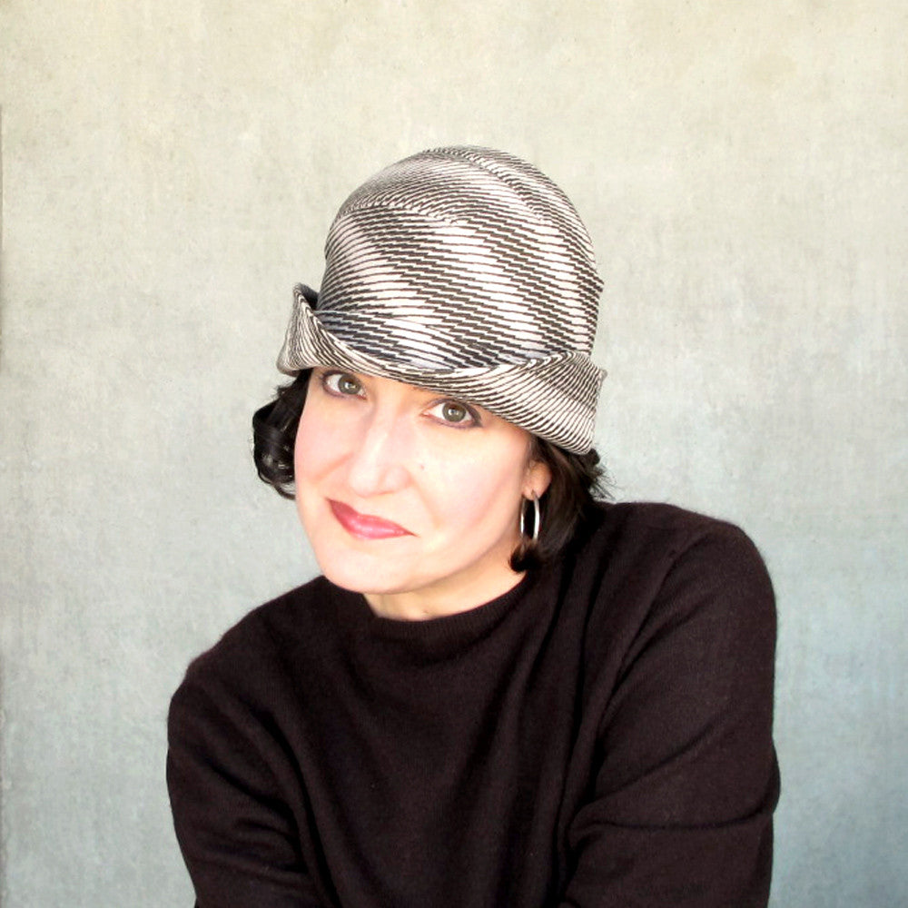 Modern bowler hat for women in brown & beige houndstooth check ultrasuede - terry graziano