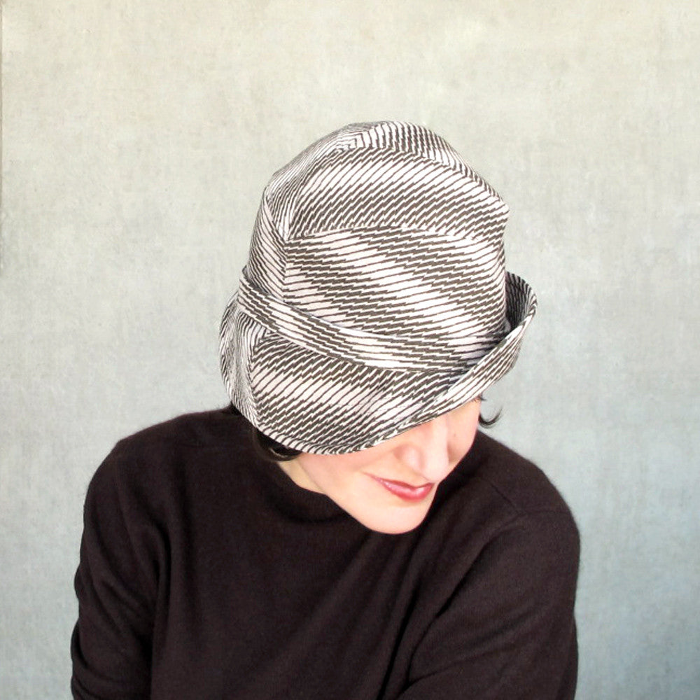 Modern millinery cloche bowler hat in houndstooth check ultrasuede - terry graziano