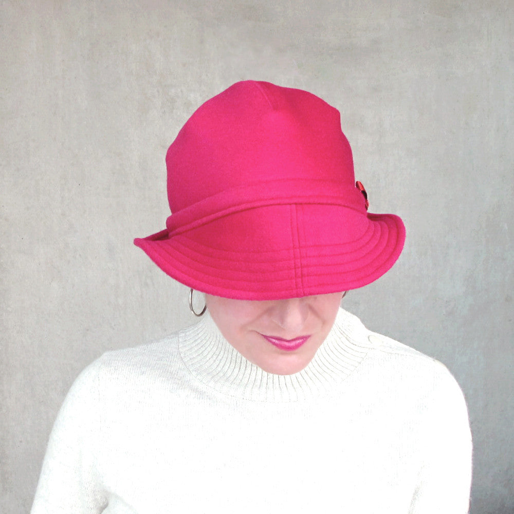 Ladies curved brim hat in rose red wool - terry graziano