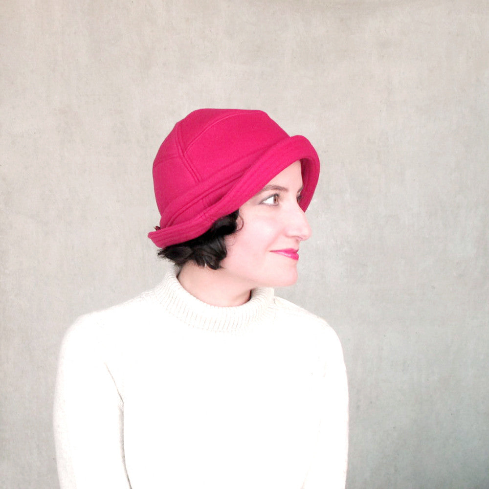 Brimmed cloche for women in rose red wool - terry graziano