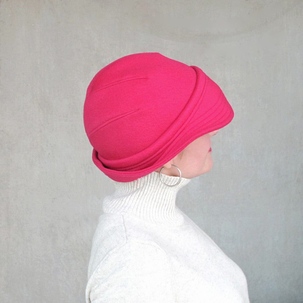 Modern millinery cloche hat bowler hat in rose red wool - terry graziano