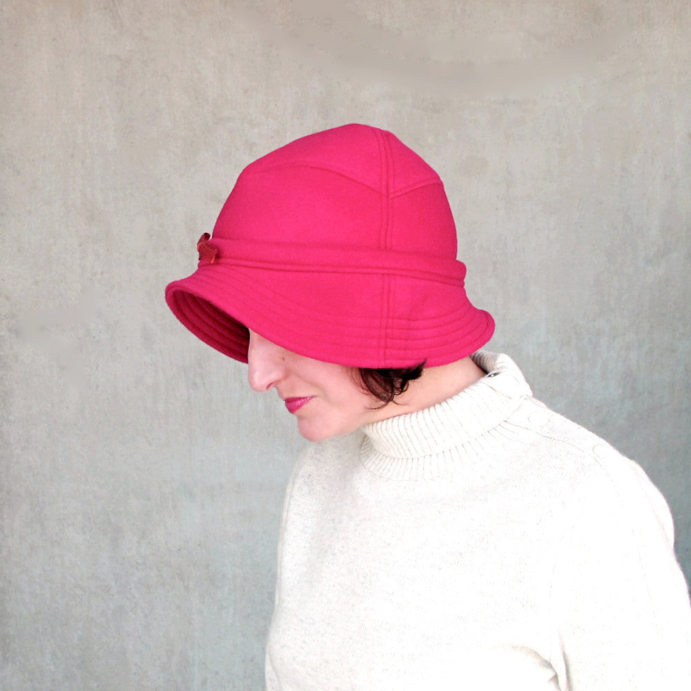 High fashion hat in rose red wool - terry graziano