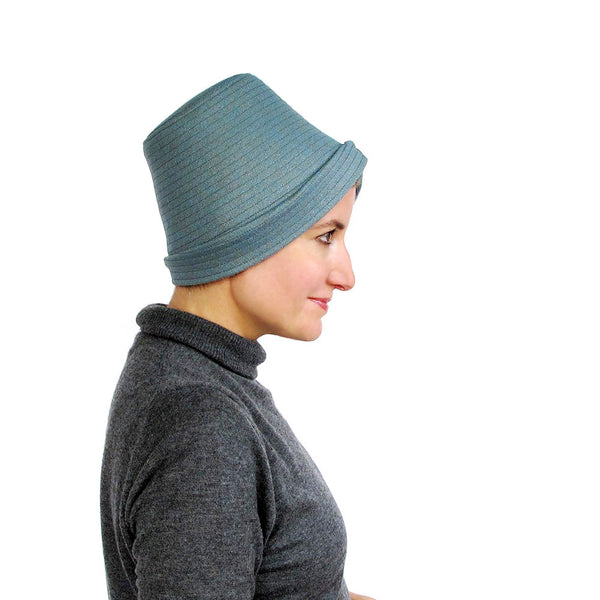 Womens tall crown crushable hat in soft blue wool - terry graziano