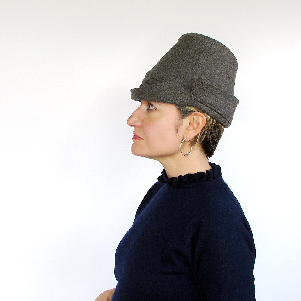 Modern millinery tall crown crushable hat in charcoal grey - terry graziano