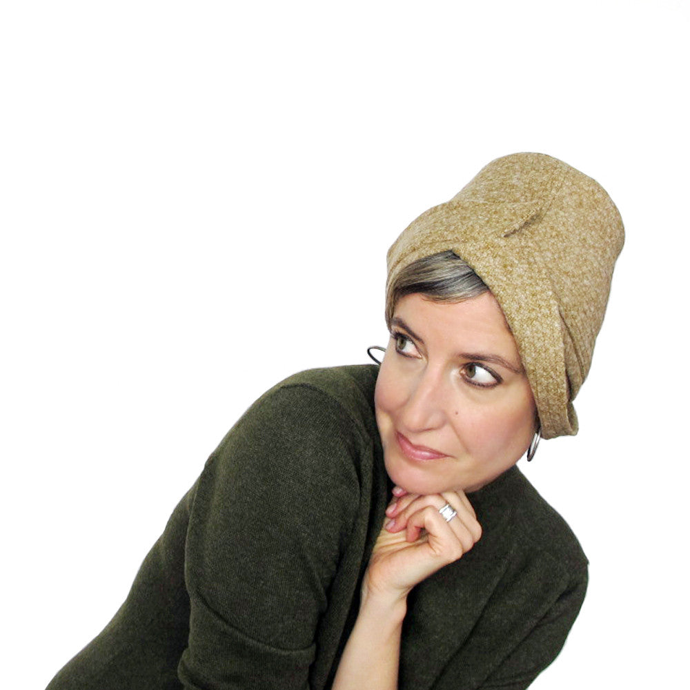 Womens unique high fashion asymmetrical brimmed cloche in mustard yellow tweed wool - terry graziano