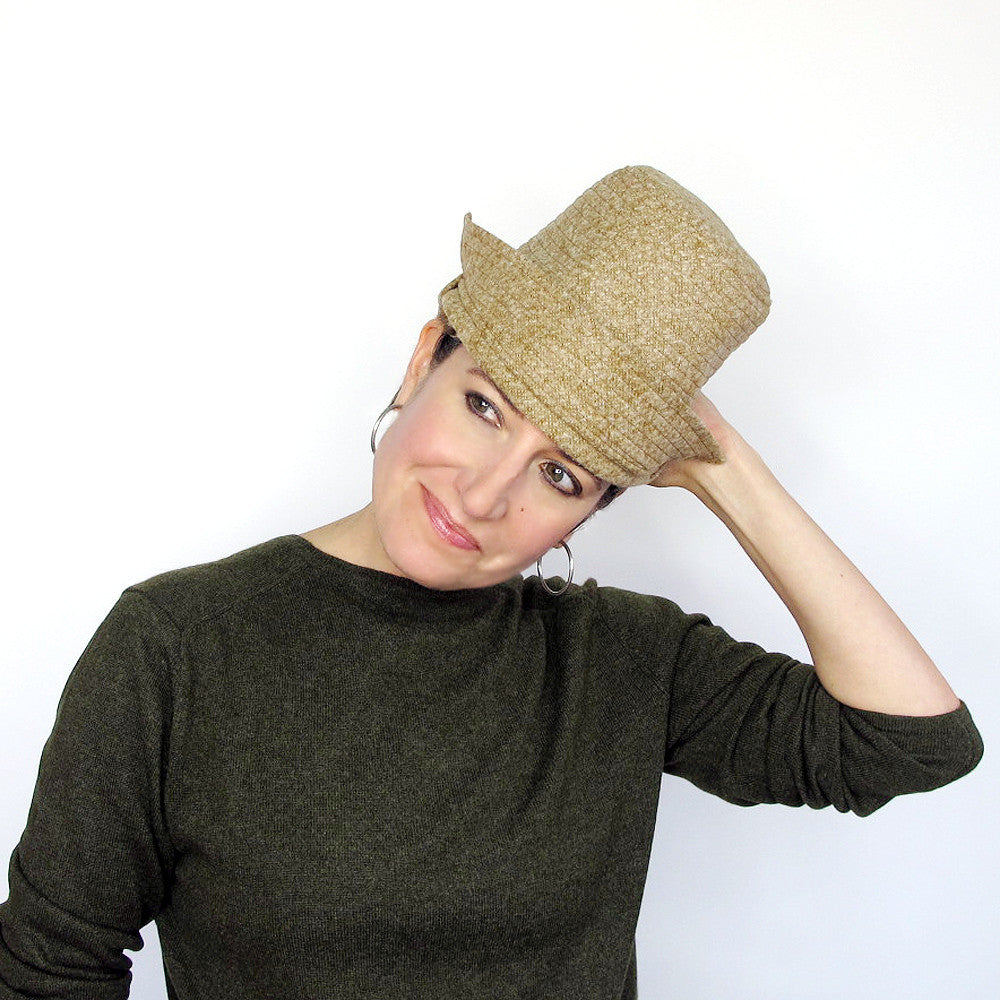 Handmade sophisticated designer millinery hat in mustard yellow tweed wool - terry graziano