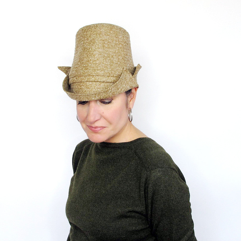 Elegant tall crown womens top hat in mustard yellow tweed wool - terry graziano