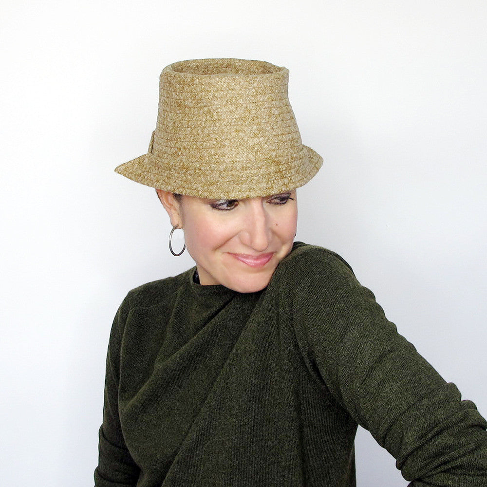 Packable crushable crown ladies hat in mustard yellow - terry graziano