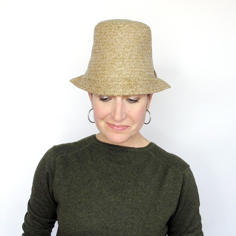 Modern millinery unique handmade tall crown hat in mustard yellow tweed wool - terry graziano