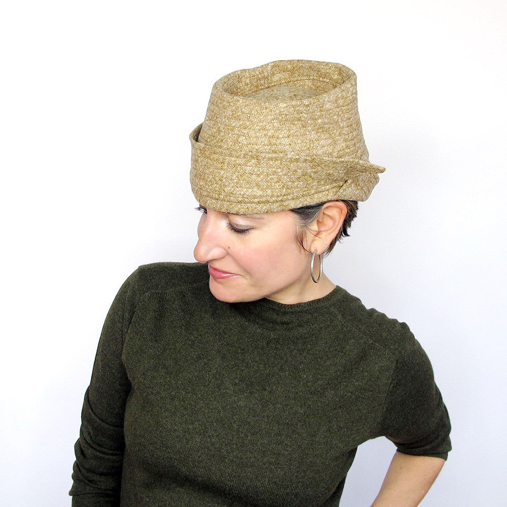Menswear inspired crushable crown womens hat in mustard yellow with asymmetric double brims - terry graziano