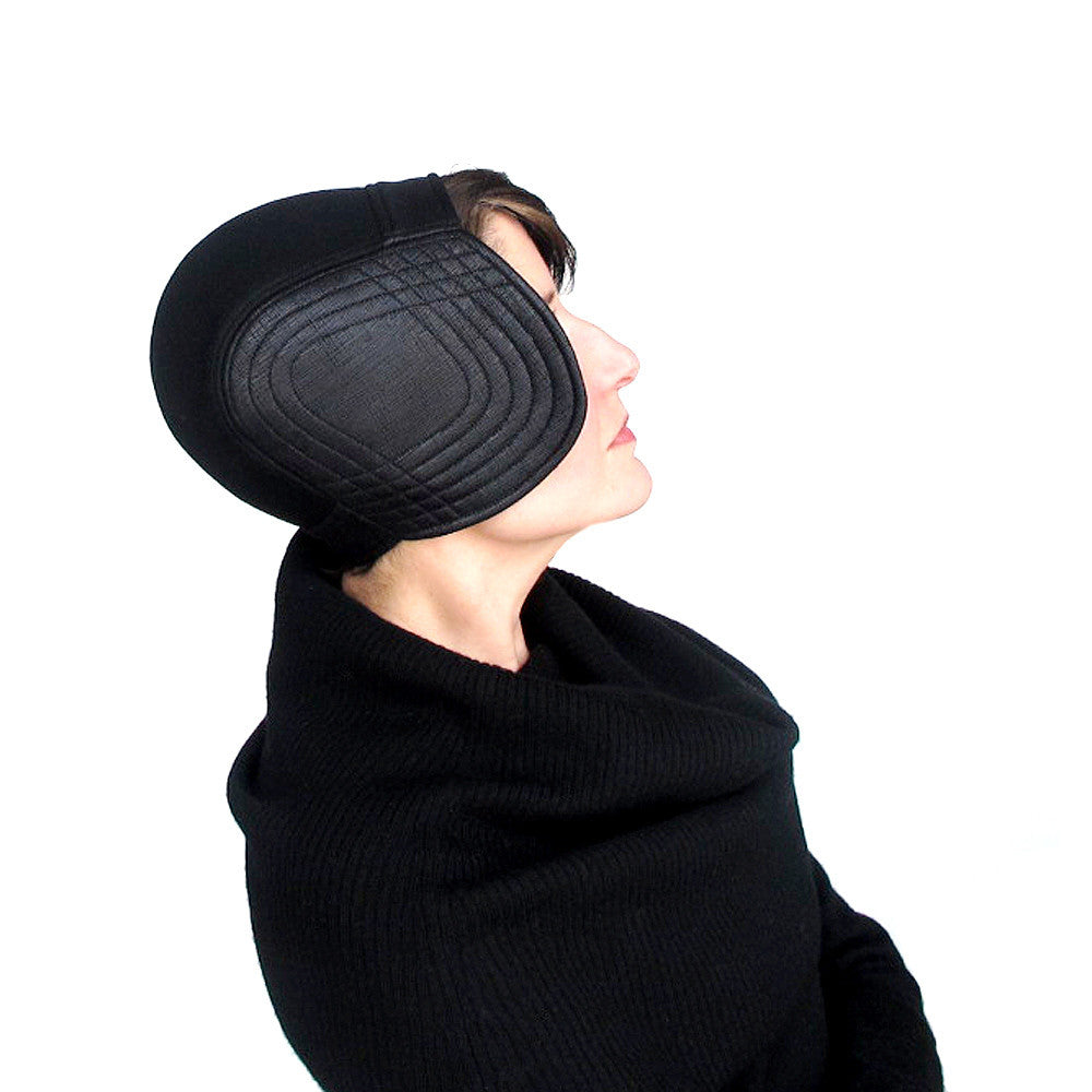 Modern millinery womens aviator cap in black wool & faux leather - terry graziano