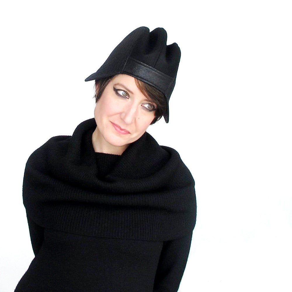 Madcap womens winter hat in black wool & faux leather - terry graziano
