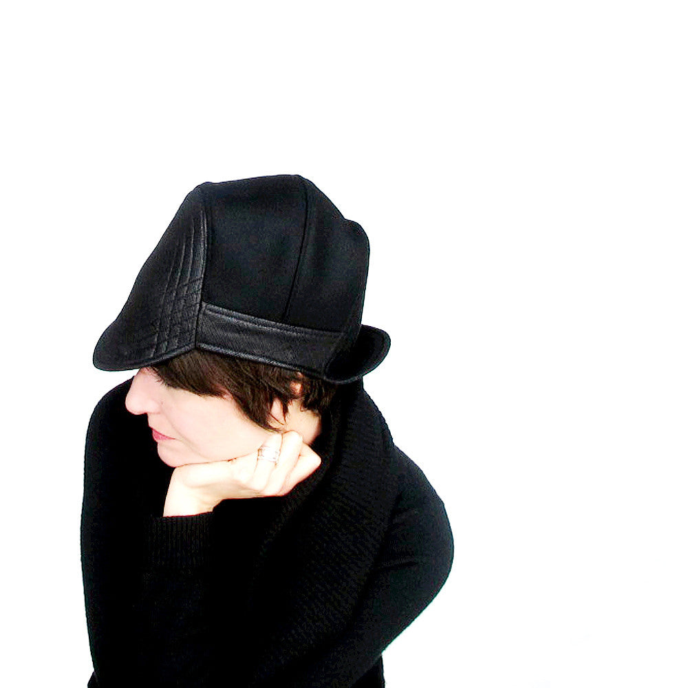 Ladies double brimmed cap in black - terry graziano