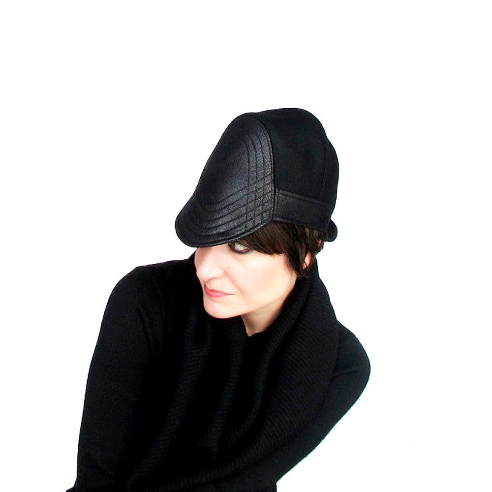 Edgy womens hat brimmed cloche cap in black - terry graziano