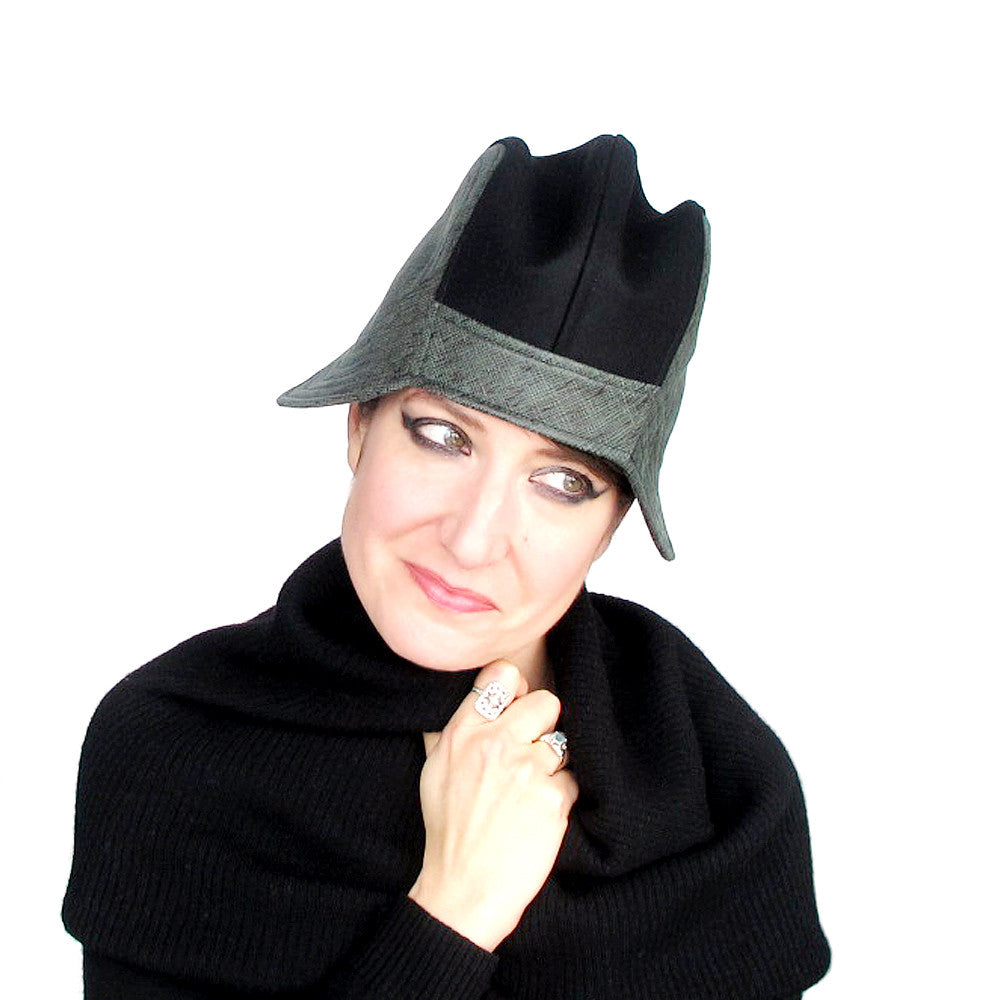 Womens unique double brimmed cloche hat in black & green - terry graziano