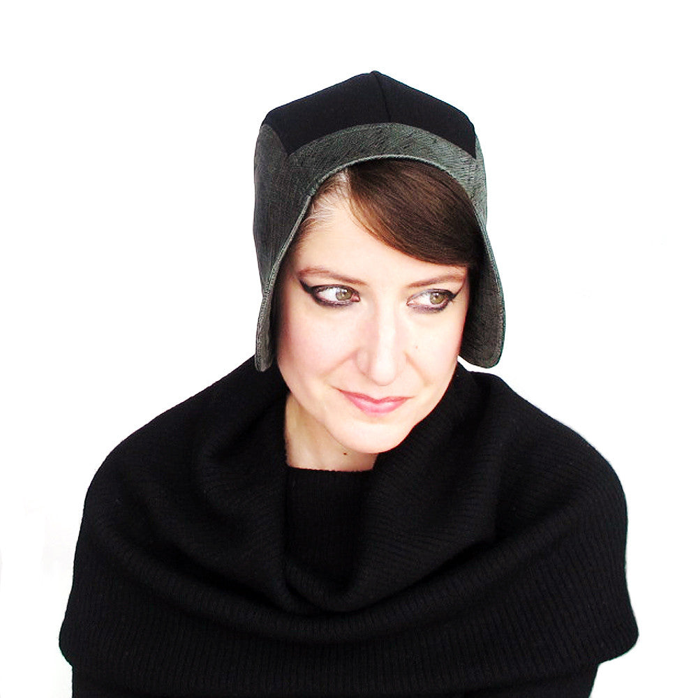 Ladies aviator cloche hat in green & black - terry graziano