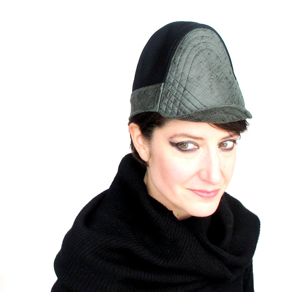 Modern millinery womens hat in green & black - terry graziano