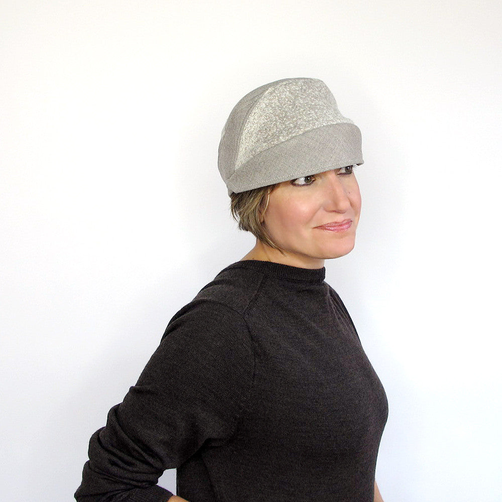 Womens small brim cap hat in beige wool - terry graziano