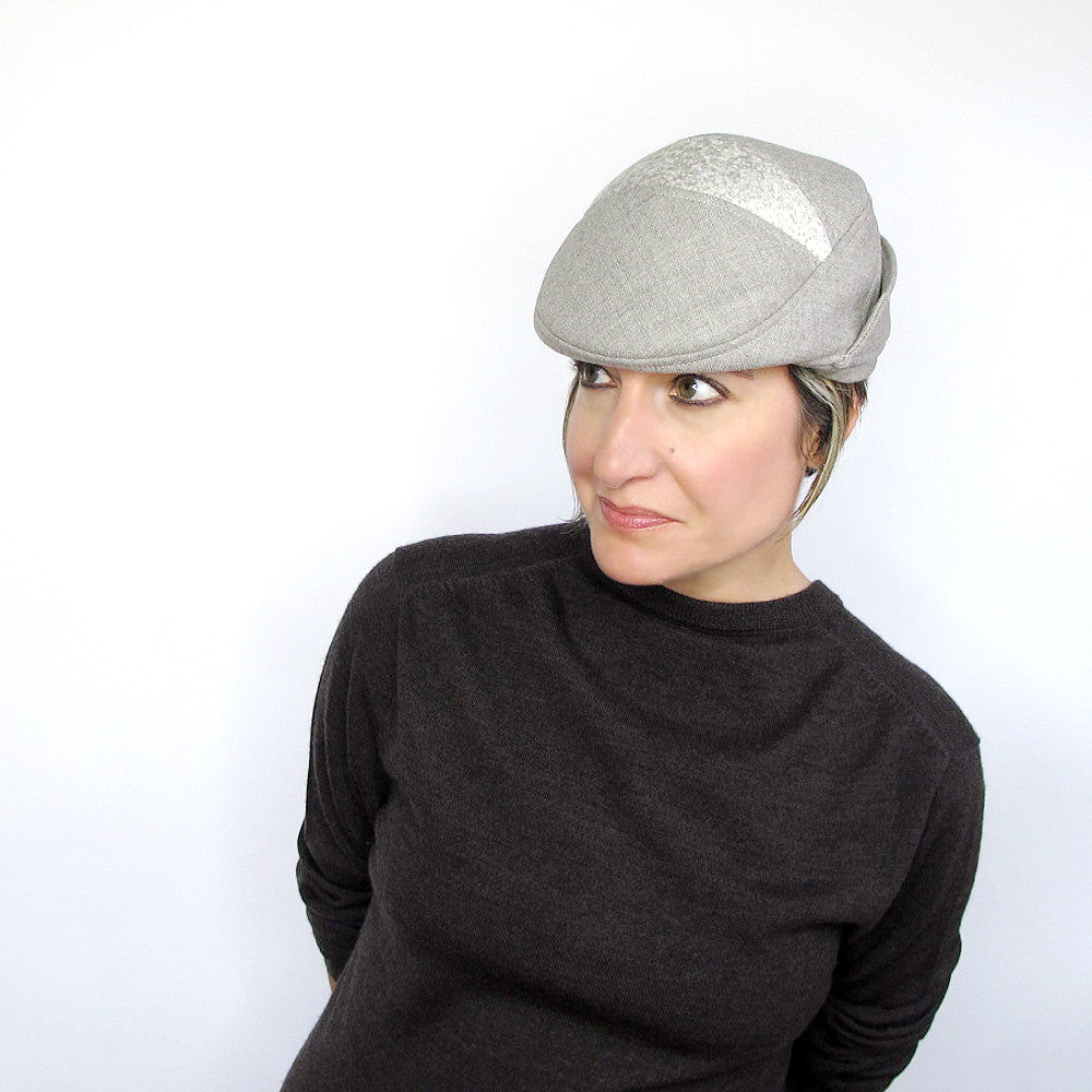 Womens wool driving cap in beige - terry graziano