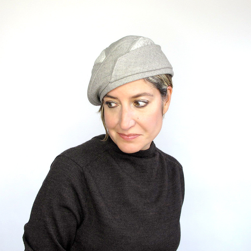 Ladies wool beret, driving cap in beige wool - terry graziano