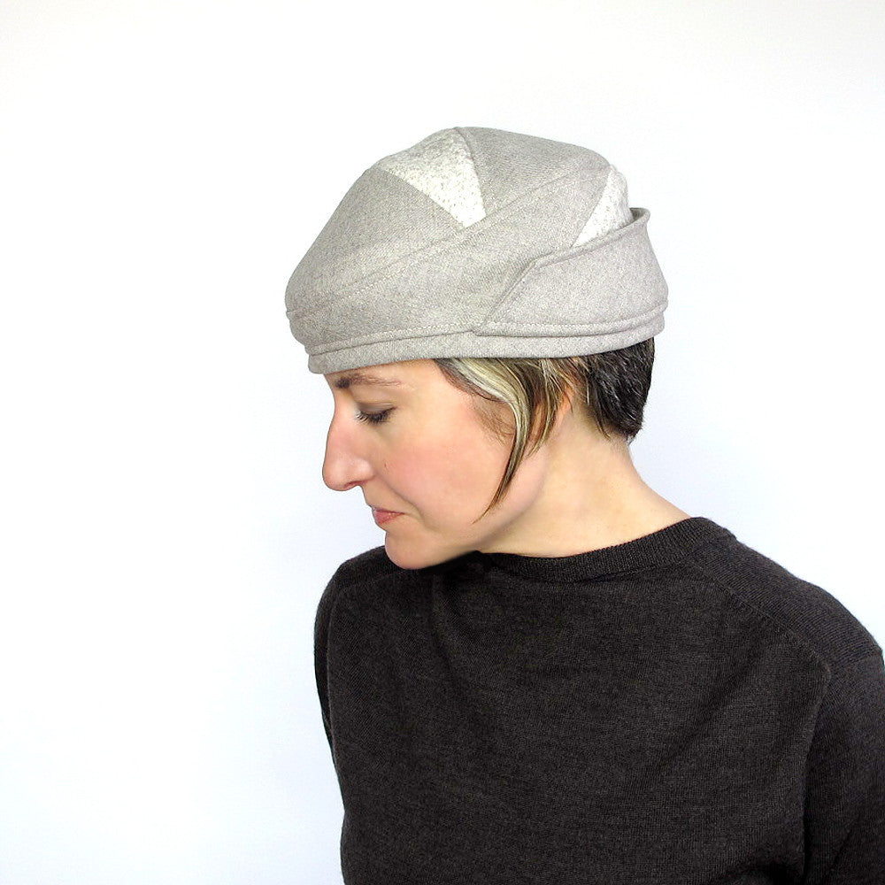 Handmade cloche hat in beige wool - terry graziano