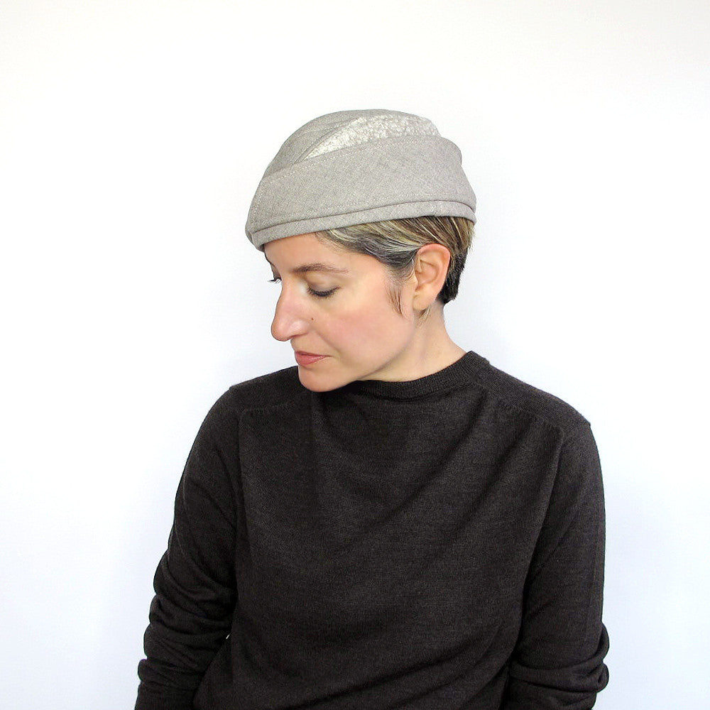 Unique millinery hat for women in beige & tweed wool - terry graziano