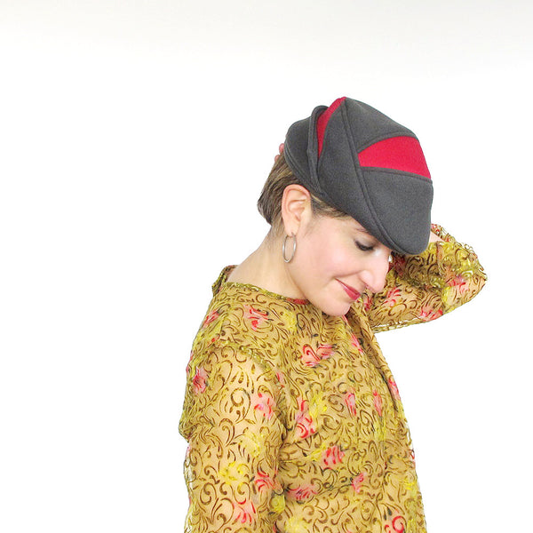 Ladies wool driving cap in grey & rose red wools - terry graziano