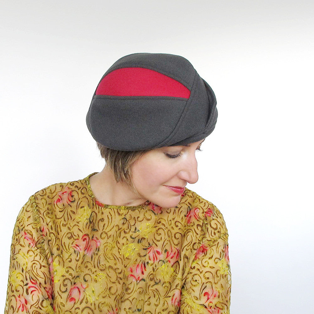 Cozy fall hat cloche beret driving cap in grey & rose red wools - terry graziano