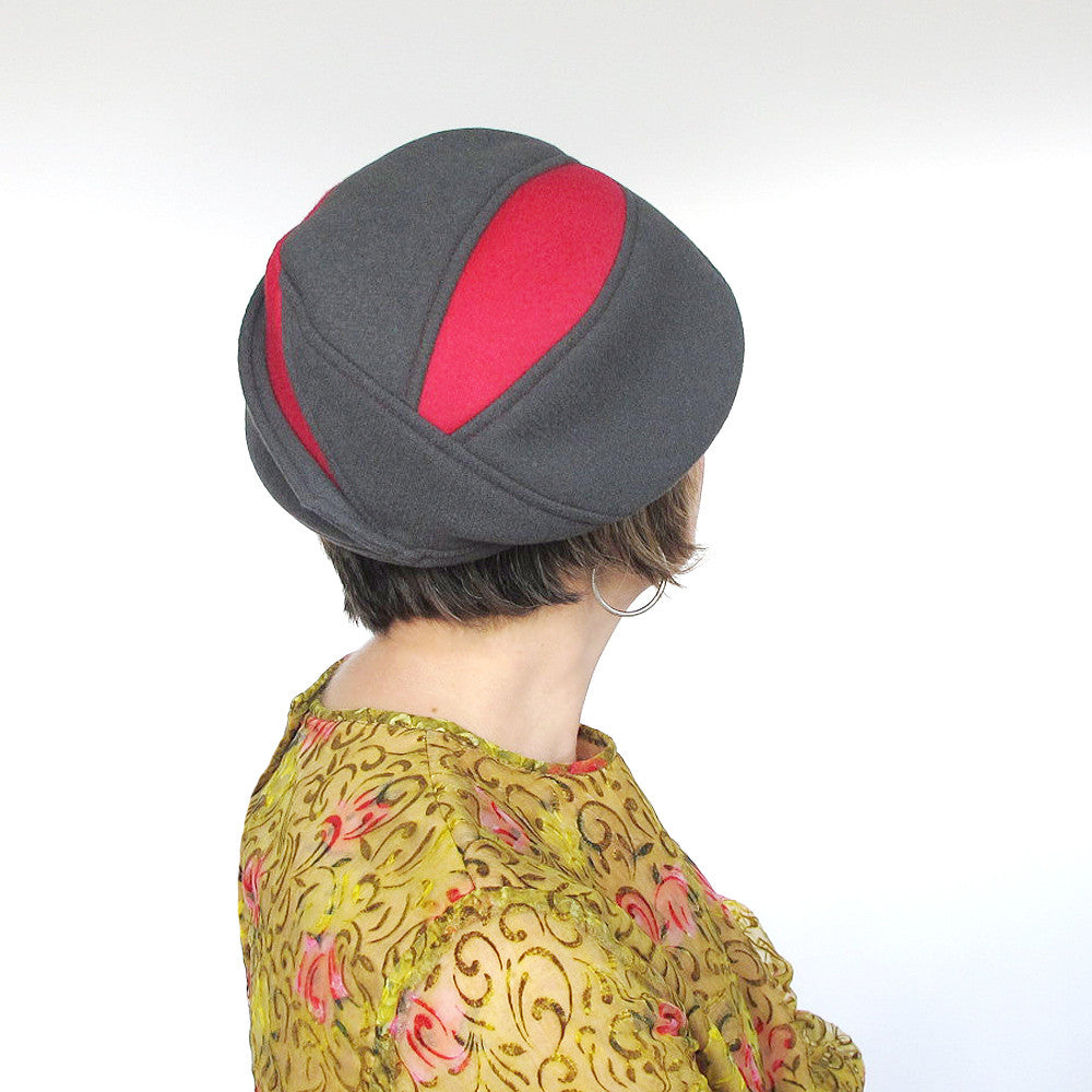 Colorblock wool hat in grey & rose red - terry graziano