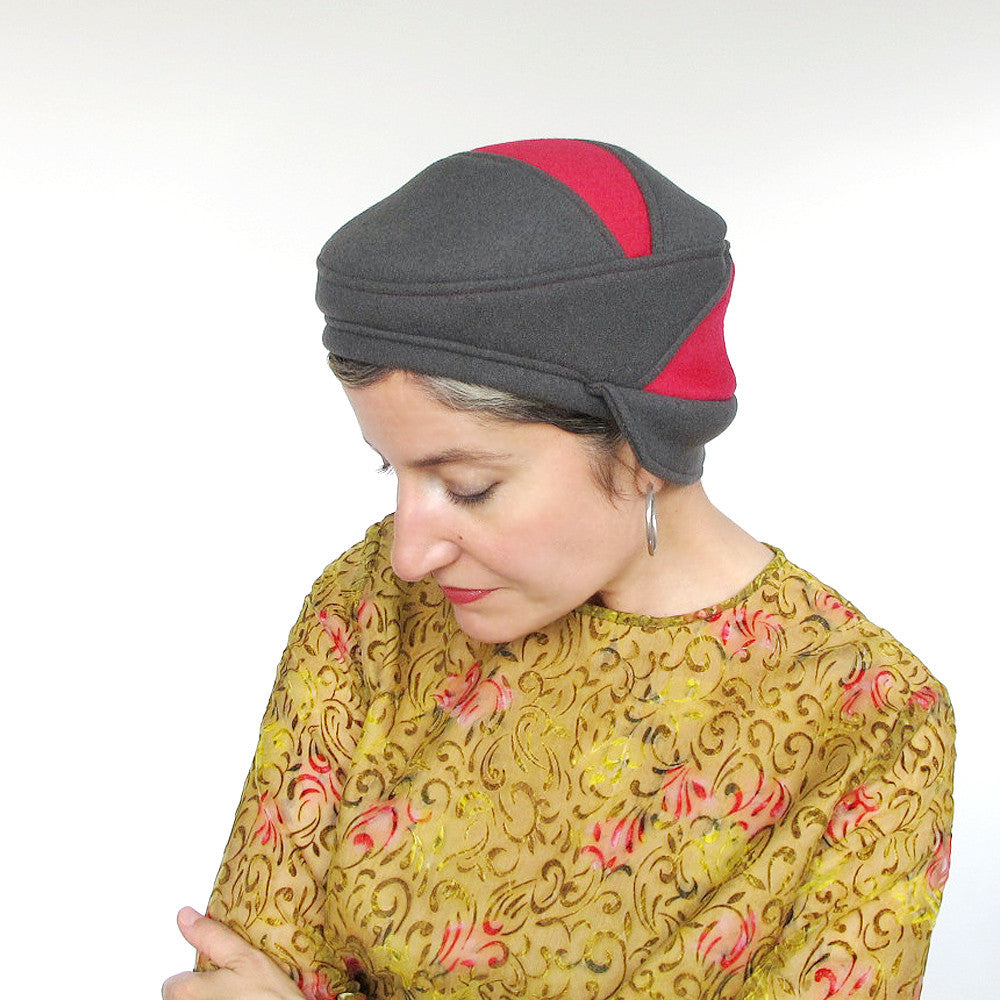 Unique handmade multi-style womens hat in grey & rose red wools - terry graziano