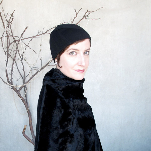 Womens black wool jersey beanie - terry graziano