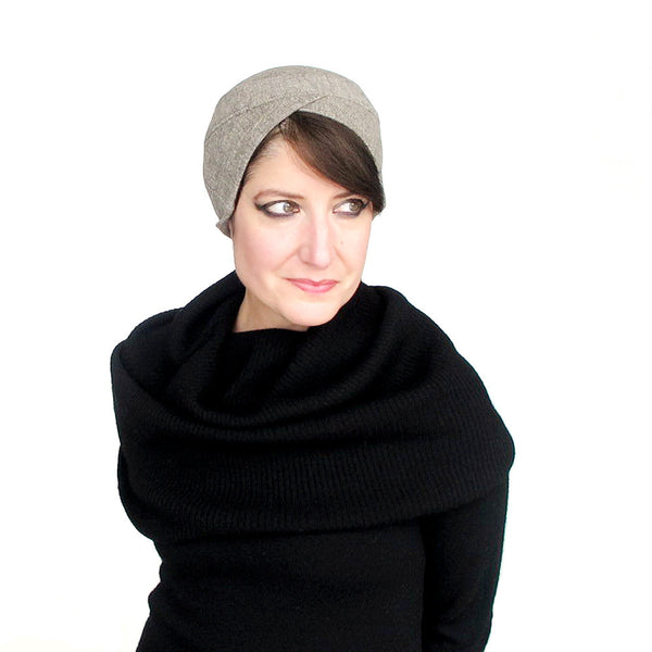 Modern turban in oatmeal heather wool jersey - terry graziano
