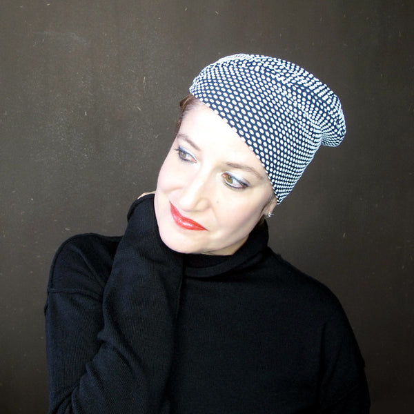 Black & white polka dot knit jersey mini beret - terry graziano
