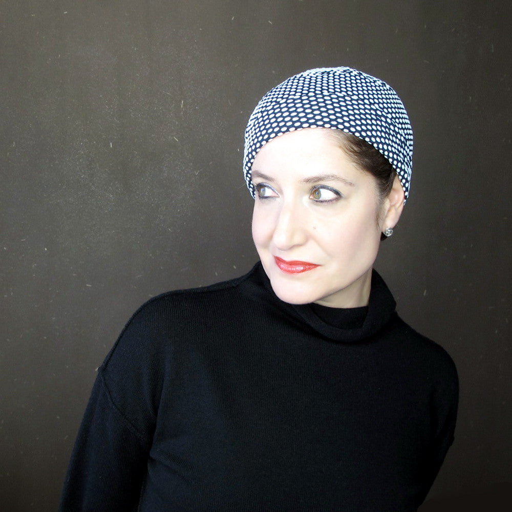 Ladies black & white skullcap in polka dot knit jersey - terry graziano