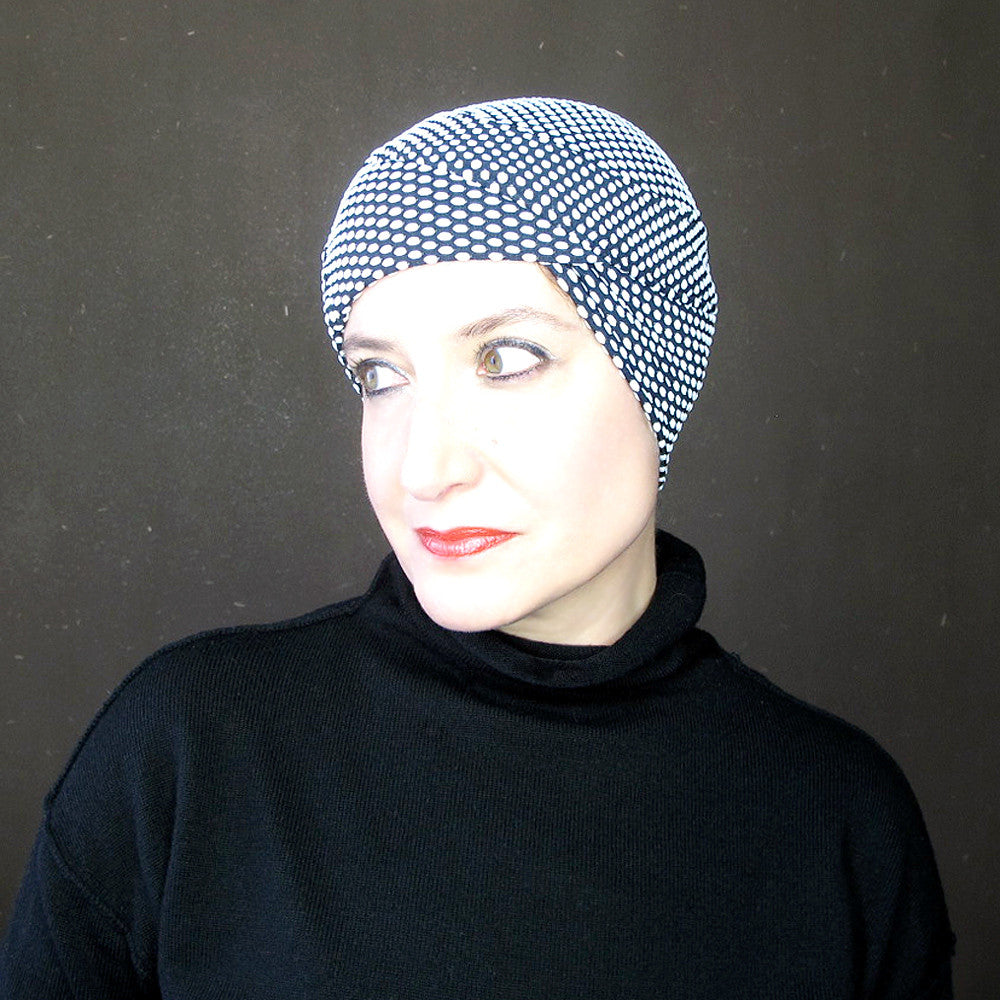 Black & white polka dot knit jersey turban - terry graziano