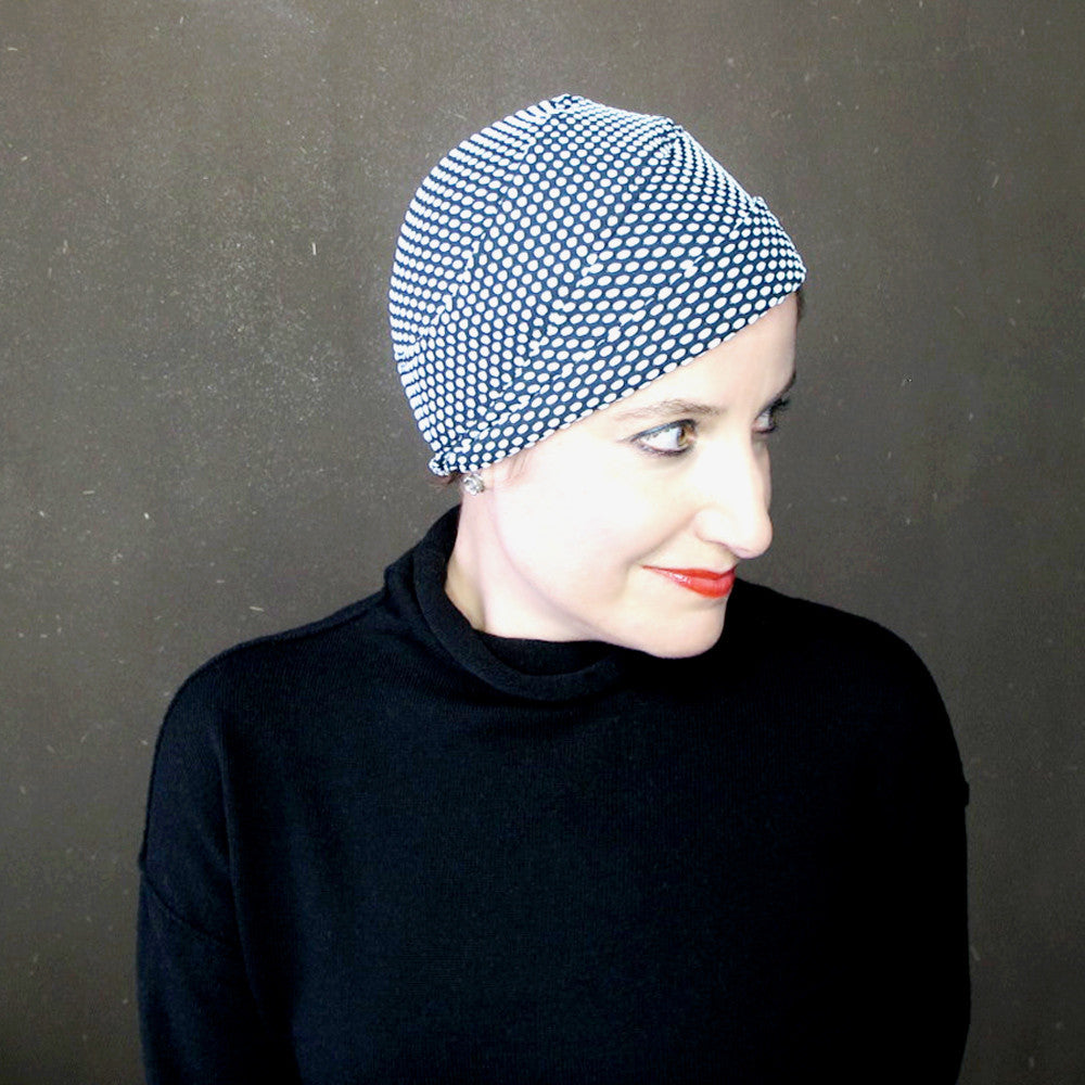 Sophisticated black & white turban in polka dot knit jersey - terry graziano