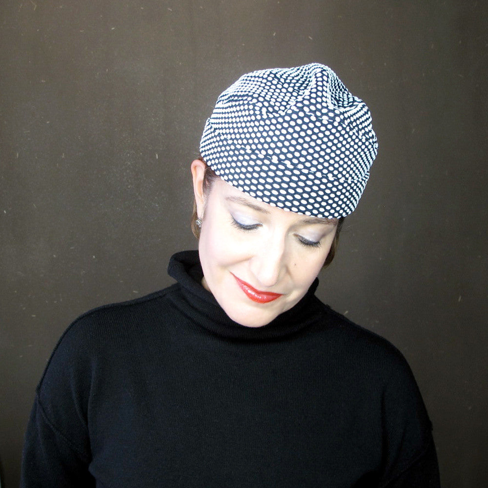 Womens black & white beanie hat in polka dot knit jersey - terry graziano