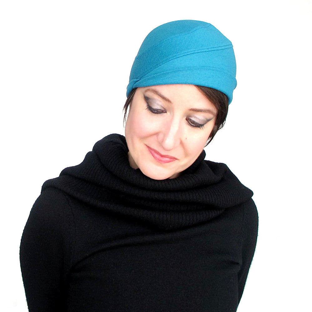 Beanie in turquoise wool knit jersey - terry graziano