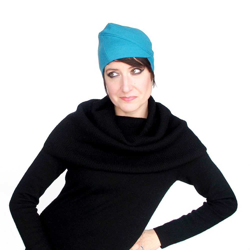 Womens turquoise wool knit jersey hat - terry graziano