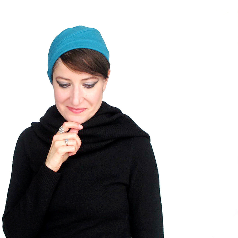 Sweet little skullcap in turquoise wool knit jersey - terry graziano