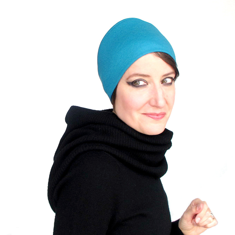 Ladies warm winter knit hat in turquoise wool jersey - terry graziano