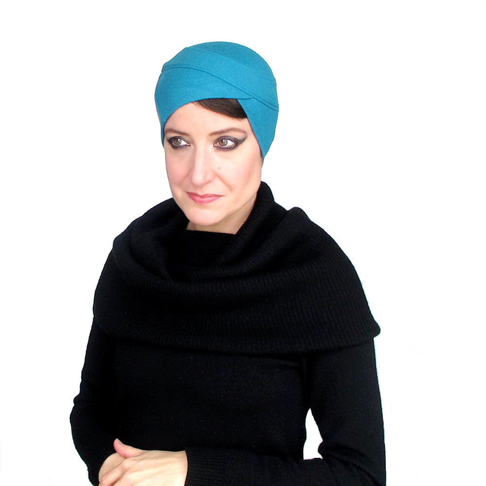 Sophisticated modern millinery turban in turquoise wool knit jersey - terry graziano
