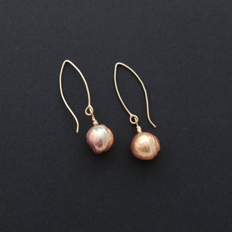 Gold freshwater pearl earrings 14ct YG ear wires